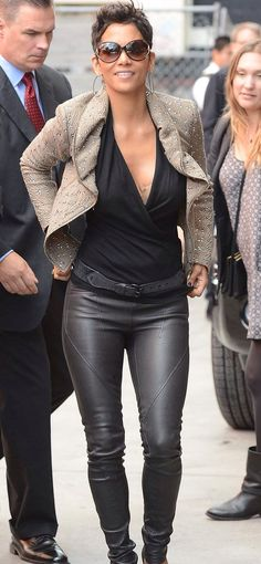 Halle pulls off leather pants so well. Love the jacket too