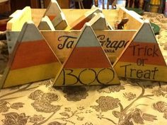 Wooden Block Candycorns - Hide around the house and have the kids go on a scavenger hunt. Cash in for prizes, candy, etc.