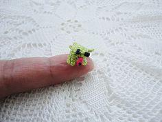 Miniature amigurumi-amigurumi crochet-unique amigurumi-mini arts-green frog-crochet frog-miniature animal-miniature frog. $20.00, via Etsy.