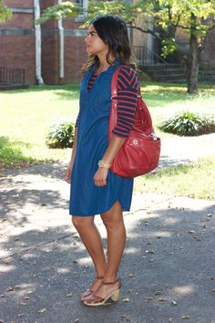 My favorite Fall outfit. H&M striped tee under Old Navy denim dress, Marc Jacobs red purse, brown Old Navy clogs.