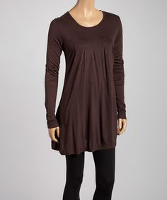Another great find on #zulily! Brown Pleated Scoop Neck Tunic - Women & Plus #zulilyfinds
