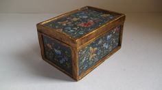 Vintage Jewlery Box  Glass and Wood Box  by VillageFair on Etsy, $31.50