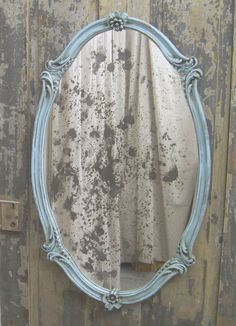 Aqua Scalloped Oval French Bistro Mirror  http://www.etsy.com/listing/78502038/shabby-aqua-scalloped-oval-french-bistro
