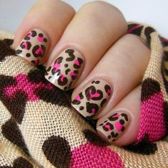 leopard hearts on nude polish!  #nails #nailart #pink #brown  - bellashoot.com