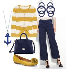 Navy and Gold make a classic combination of color in this outfit