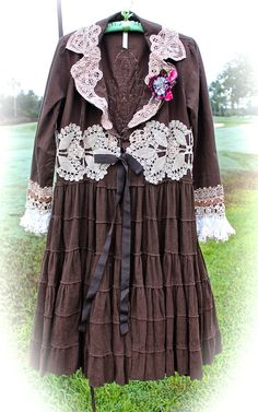 Rustic Romantic Cowgirl Coat Lolita Shabby Chic Chocolate And Lace Crocheted Rodeo Sweetheart Swirl and Fluff Coat by IzzyRoo on Etsy