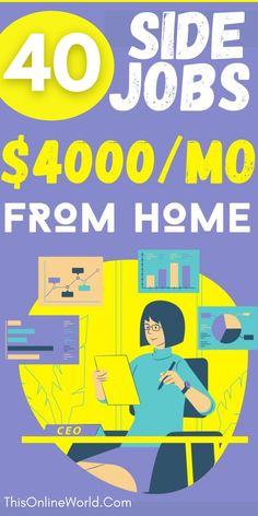 If you want to start working from home, these 40 ideas are the best way to get inspired! Make Money Now, Earn Money From Home, Make Money Online, Online Jobs From Home, Work From Home Jobs, Online Income, Online Earning, Creating Passive Income, Extra Money
