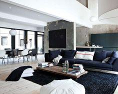 belle association de gris bleu blanc et noir