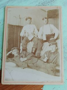 Antique photo on cardboard with soldiers(?) men in uniform pipe, beer mug Antique Photos, Vintage Photos, Men In Uniform, Soldiers, Beer, Mugs, Antiques, People, Painting