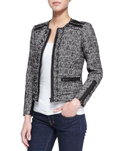 Rebecca Taylor Long-Sleeve Tweed Jacket with Leather Trim, Black - Neiman Marcus