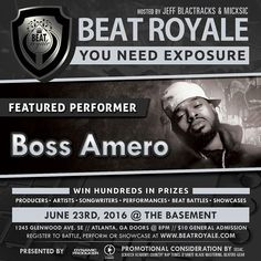 This Thursday night Boss Amero is coming to rock the soundstage during the Beat Royale opening set .  This epic night will be hosted by @MICxSIC and @JeffBlactracks doors open to The Basement at 8:00pm. $10 At The Door. Get There Early You Don't Want To Miss This Fire!!!! #beatroyale #atlanta #dynamicproducer #beatbattleking #superproducer #superproducers #musicbusiness #christianhiphop #futureproducer #christianproducer #musicproducerlife #producerlife #musicnetworking #produceroftheyear…