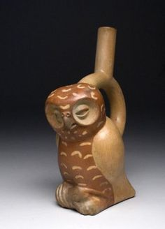 Pre-Columbian Moche pottery owl jug