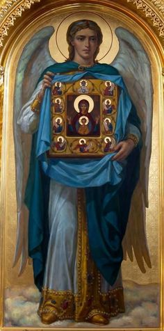 Archangel Gabriel holding the icon of the Theotokos. Religious Icons, Religious Art, Holy Art, Saint Gabriel, Religion, Jesus Christus, Byzantine Icons, Angel Pictures, Angels Among Us