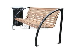 isolated park bench | Photo: A Modern Park Bench and Rubbish Bin. Isolated with clipping ...