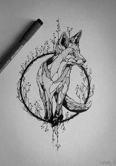 Resultado de imagem para fox tattoo black and white