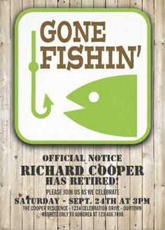 Fishing retirement party invitation fisherwoman woman fisherman