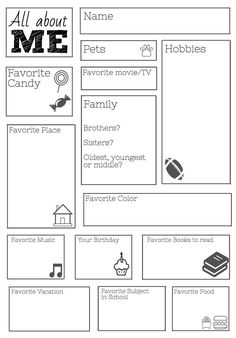 Freebie! Great for the holidays.   All about me worksheet