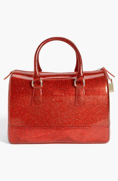 Furla 'Candy Glitter' Rubber Satchel | Nordstrom    What a cute sparkly red bag!  Love this!