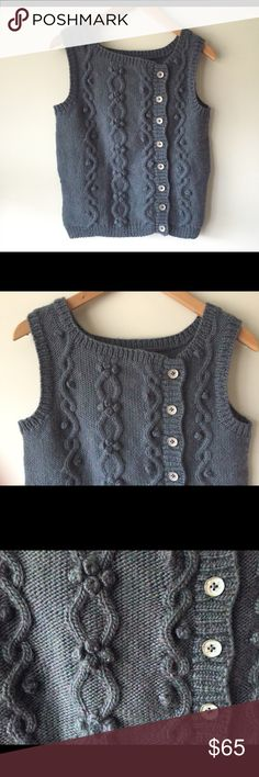 """Unique Slate Blue Sleeveless Sweater Vest Unique Slate Blue Sleeveless  Sweater Vest.    Amazing!!!❤️.   No tags at all.    Hand knit..?   Photos don't do the color justice!   NO flaws!!!   I'm not sure what the material is.  Really cute functioning buttons.   Armpit to armpit 17"""" lay flat       Length 19"""".   I think this would fit  Small - Medium Sweaters Crew & Scoop Necks"""