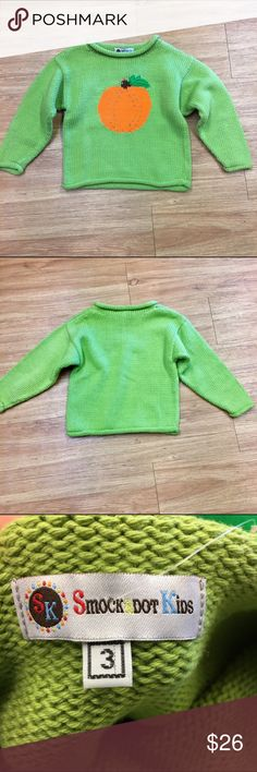Smockadot Kids Green Orange Pumpkin Rollneck 3 Smockadot Kids Green Orange Pumpkin Rollneck Sweater 3  I think this could work for a girl or boy.  Very light wash wear.  Super bright colors.  #rollneck #pumpkinpatch #fall #itsfallyall #sweater #unisex #green #orange #applepicking #smockadotkids Smockadot Kids Shirts & Tops Sweaters