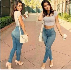 Blue High Wasted Jeans, Nude Pumps, Grey Crop Top, White Handbag