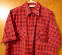 Vintage Men's - Kingsport Plaid Short Sleeve Shirt - 80's - Sz XL - Red Black