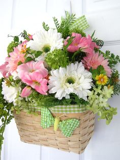 SOCIAL BUTTERFLY Spring Summer Pink/Green Door by funflorals, $80.00