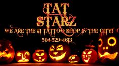 CELEBRATE THE HALLOWEEN SEASON WITH A NEW TATTOO FROM TAT STARZ!! Tat Starz invites you to come in and let our talented artists TRICK you out with new ink. TREAT yourself to a bad ass, custom tattoo this month.   We have a ton of cool Halloween themed flash tattoos for you to look at and choose from or bring in your ideas, and let our artists create that one of a kind perfect tattoo just for you. Our artists are the best around and are well known for their creative, custom tattoos. We will…