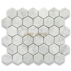 Carrara White 2 inch Hexagon Mosaic Tile Polished $11.99 love this for the floor online order