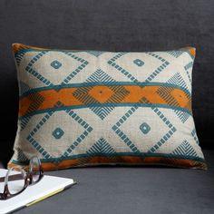 Hand-Blocked Silk Maize Pillow Cover | west elm