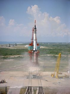 Liftoff for Freedom 7 as part of NASA's Mercury program. This sub-orbital flight, launched atop a Redstone rocket, made Alan Shepard the first American in space.