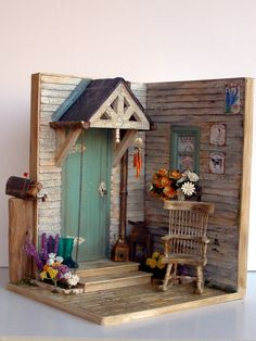 "Hand-made miniature Scene 1:12 scale ""An autumnal porch "" by Pequeneces on Etsy"