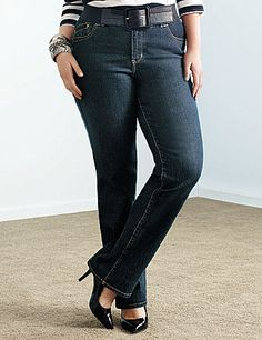 Youll love how you look in our dark rinse straight leg jean with T3 Tighter Tummy Technology.  Built-in control panel firms and flattens your tummy. Built-in elastic waistband provides a comfortable fit and prevents gaps. 5-pocket design with double button waistband, zip fly and double belt loops.  lanebryant.com