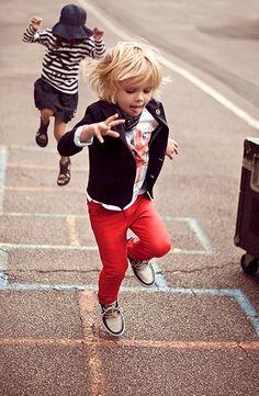 run in red pants