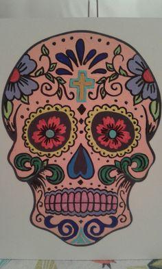 Calabera Mexicana pintada con acrìlico sobre madera.