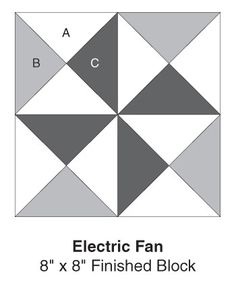 Electric Fan, part of Quilter's World's FREE Quilt Block of the Month. Get the download here: http://www.quiltersworld.com/Quilt_Block/?id=29