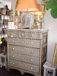 Mother of Pearl Inlay Chest with Five Drawers and Marble Top Original Inlay Panels on Drawer Fronts and Sides Drawer Interiors and Back Rebuilt Circa 1900s