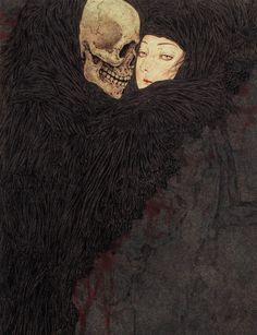 Takato Yamamoto - Persephonish. Death grim reaper Father Time scythe maiden girl woman dance danse macabre skull skeleton