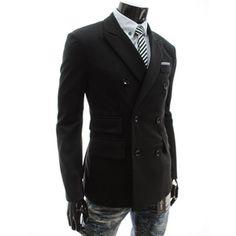 (DJK22-BLACK) Slim Fit Double Breasted Stretchy Jacket