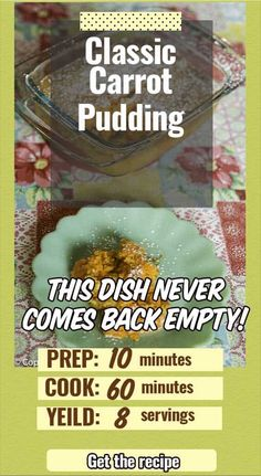 Enjoy the perfect side dish for picky eaters. No one can resist this old-fashioned sweet carrot pudding. A simple dish that's sure to be a family favorite. Great for Easter, Thanksgiving, Christmas. Carrot Souffle, Carrot Pudding, Carrots N Cake, Cooked Carrots, Side Dish Recipes, Side Dishes, 2 Quart Baking Dish, Sweet Carrot, Carrot Recipes