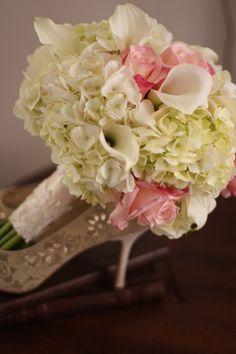 Hydrangea roses callas bridal bouquet