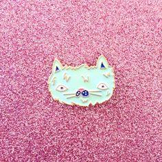 Fuzzy kat Lapel pins kat glazuur Pin Cute Cat door HeatherBuchanan