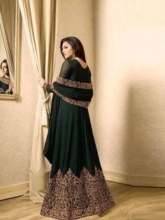 Thread Sutra Embroidered Long Anarkali in Dark Green Long Anarkali, Anarkali Dress, Anarkali Suits, Eid Dresses, Formal Dresses, Salwar Suits Online, Designer Anarkali, Bridesmaid Dresses, Wedding Dresses