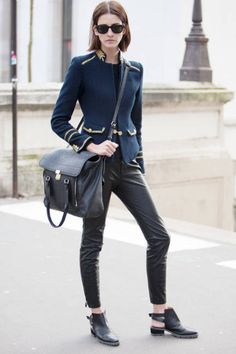 Blue Military Coat with Gold Accents with Black Pants