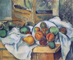 Still Life with Napkin and Fruit on a Table, 1895-1900.  Paul Cezanne