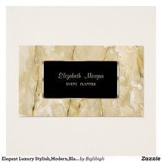 Tarjeta De Visita Marco elegante, moderno, negro de lujo elegante,