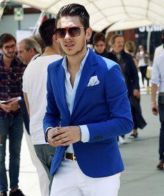 Blue blazer, Hermes belt