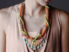 Kershaw, Chunky Neon Necklace, tribal necklace, raw ropes with chains and hand painted rhinestones. OOAK by  NUTCASE FASHION on Etsy.