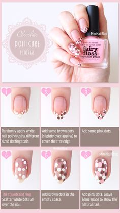 Dotticure Nails Tutorial! Please visit for the tips. https://nailbees.com/chocolate-dotticure-nails #Dotticure #NailArt #Tutorial #Pictorial #ValentinesDay
