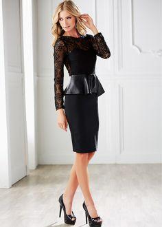 Spitzen-Kleid mit Schößchen in Leder-Optik - schwarz